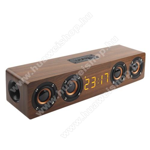 Hordozható bluetooth hangszóró - beépített mikrofon, 4x3W, 75dB, beépített 3000mAh akkumulátor, 3.5mm AUX, USB, kihangosító funkció, FM rádió, memóriakártya olvasás - BARNA - 400 x 90 x 80mm