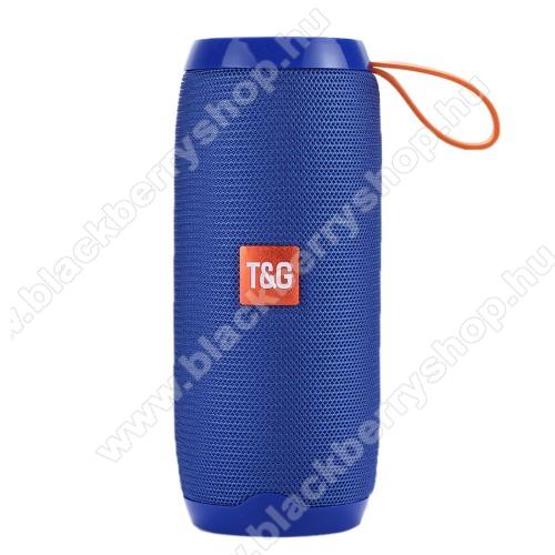 Hordozható Bluetooth hangszóró - Bluetooth V4.2, beépített mikrofon, 3,5mm AUX, USB port, TF kártyafoglalat, beépített 1200mAh akkumulátor - KÉK