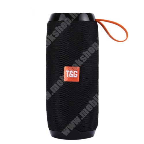 Hordozható Bluetooth hangszóró - Bluetooth V4.2, beépített mikrofon, 3,5mm AUX, USB port, TF kártyafoglalat, beépített 1200mAh akkumulátor - FEKETE