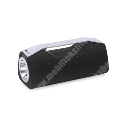 ALCATEL Flash (2017) Hordozható Bluetooth hangszóró, elem lámpa - Bluetooth V5.0, beépített mikrofon, 3,5mm AUX, USB port, FM rádió, TF kártyafoglalat, beépített 1200mAh akkumulátor - FEKETE
