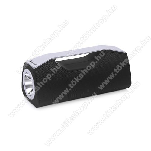 Hordozható Bluetooth hangszóró, elem lámpa - Bluetooth V5.0, beépített mikrofon, 3,5mm AUX, USB port, FM rádió, TF kártyafoglalat, beépített 1200mAh akkumulátor - FEKETE