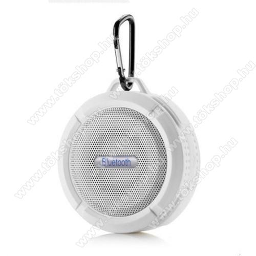 Hordozható bluetooth hangszóró - FEHÉR - v3.0+EDR, microSD foglalat, mikrofon, kihangosító funkció, IP65 Víz-és porálló