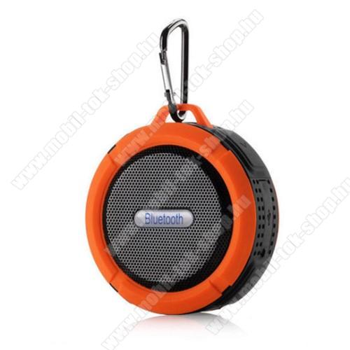 Hordozható bluetooth hangszóró - NARANCS - v3.0+EDR, microSD foglalat, mikrofon, kihangosító funkció, IP65 Víz-és porálló