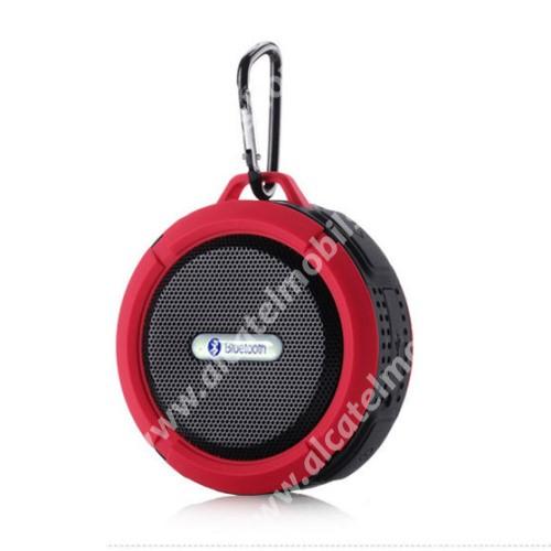 Alcatel OT-810D Hordozható bluetooth hangszóró - PIROS - v3.0+EDR, microSD foglalat, mikrofon, kihangosító funkció, IP65 Víz-és porálló