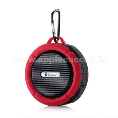 Hordozható bluetooth hangszóró - PIROS - v3.0+EDR, microSD foglalat, mikrofon, kihangosító funkció, IP65 Víz-és porálló