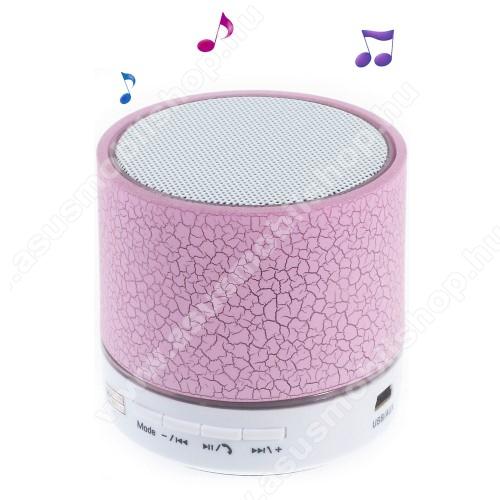 Hordozható bluetooth hangszóró - RÓZSASZÍN - v2.1, microSD foglalat, mikrofon, kihangosító funkció, 3,5 jack aljzat