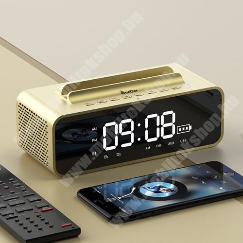 ALCATEL A30 Hordozható bluetooth hangszóró / telefon tartó állvány - V4.2, ébresztőóra, FM rádió, beépített mikrofon, 10W, beépített 2400mAh akkumulátor, 3.5mm AUX, USB, kihangosító funkció, memóriakártya olvasás - ARANY - 80x78x73mm