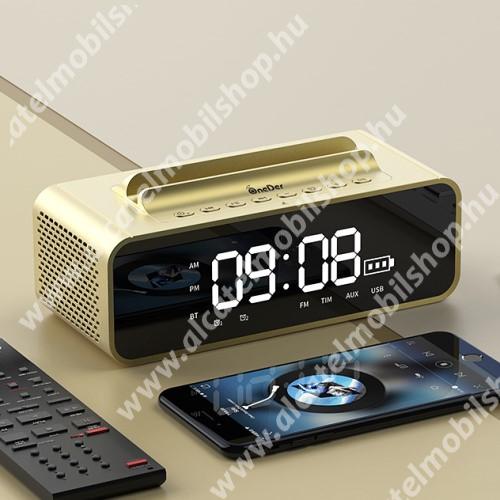 ALCATEL OT 800 Tribe Hordozható bluetooth hangszóró / telefon tartó állvány - V4.2, ébresztőóra, FM rádió, beépített mikrofon, 10W, beépített 2400mAh akkumulátor, 3.5mm AUX, USB, kihangosító funkció, memóriakártya olvasás - ARANY - 80x78x73mm
