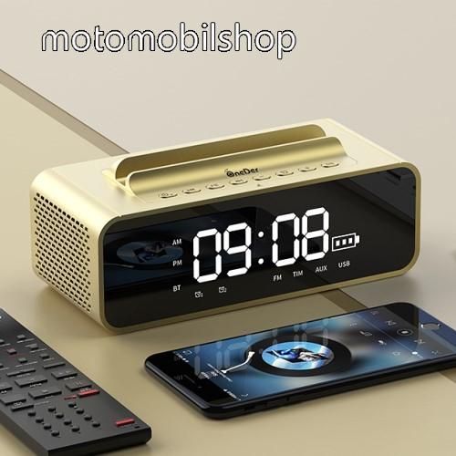 Motorola Moto G8 Play Hordozható bluetooth hangszóró / telefon tartó állvány - V4.2, ébresztőóra, FM rádió, beépített mikrofon, 10W, beépített 2400mAh akkumulátor, 3.5mm AUX, USB, kihangosító funkció, memóriakártya olvasás - ARANY - 80x78x73mm