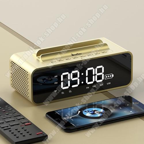 Hordozható bluetooth hangszóró / telefon tartó állvány - V4.2, ébresztőóra, FM rádió, beépített mikrofon, 10W, beépített 2400mAh akkumulátor, 3.5mm AUX, USB, kihangosító funkció, memóriakártya olvasás - ARANY - 80x78x73mm