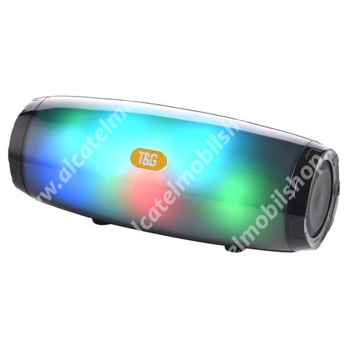 Hordozható Bluetooth hangszóró - V5.0, beépített mikrofon, FM rádió, 3,5mm AUX, USB port, TF kártyafoglalat, LED fény, beépített 1200mAh akkumulátor, 21,5 x 8,6 x 8,78 mm - FEKETE