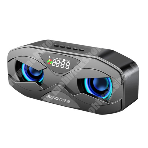 LG G4c (H525N) Hordozható Bluetooth hangszóró - V5.0, beépített mikrofon, digitális óra, ébresztőóra, FM rádió, 3,5mm AUX, USB port, TF kártyafoglalat, 4Ω 3W, LED fény, beépített 2500mAh akkumulátor, 175 x 70 x 50 mm - FEKETE