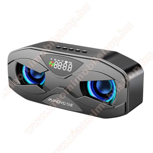 Hordozható Bluetooth hangszóró - V5.0, beépített mikrofon, digitális óra, ébresztőóra, FM rádió, 3,5mm AUX, USB port, TF kártyafoglalat, 4Ω 3W, LED fény, beépített 2500mAh akkumulátor, 175 x 70 x 50 mm - FEKETE