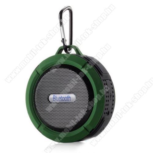 Hordozható bluetooth hangszóró - ZÖLD - v3.0+EDR, microSD foglalat, mikrofon, kihangosító funkció, IP65 Víz-és porálló