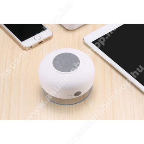 Hordozható bluetooth mini hangszóró - FEHÉR - v.3.0 +EDR, IPX4 vízállósági szabvány, tapadókorongos