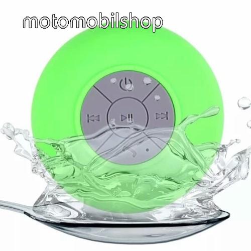 Hordozható bluetooth mini hangszóró - ZÖLD - v.3.0 +EDR, IPX4 vízállósági szabvány, tapadókorongos