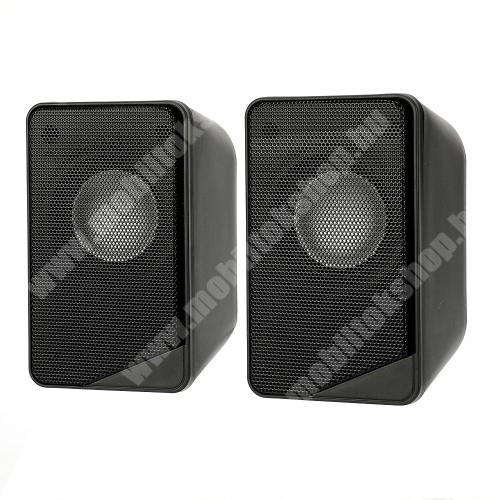 HomTom C13 Hordozható hangszóró / PC hangfal - 3.5mm csatlakozó, PC, laptop, telefonnal is kompatibilis, USB-s tápellátás, 2x 3W, 115 x 65 x 62mm (1db), hangerőszabályzó, 110cm hosszú kábel - FEKETE