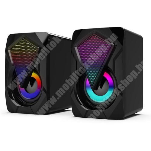 HomTom C2 Hordozható hangszóró / PC hangfal - 3.5mm csatlakozó, PC, laptop, telefonnal is kompatibilis, gamer, RGB világítás, USB-s tápellátás, 2x 3W, hangerőszabályzó, beépített kábel - FEKETE