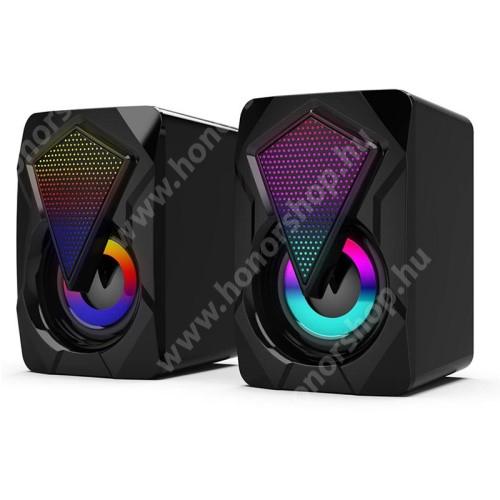 HUAWEI Honor V40 5G Hordozható hangszóró / PC hangfal - 3.5mm csatlakozó, PC, laptop, telefonnal is kompatibilis, gamer, RGB világítás, USB-s tápellátás, 2x 3W, hangerőszabályzó, beépített kábel - FEKETE