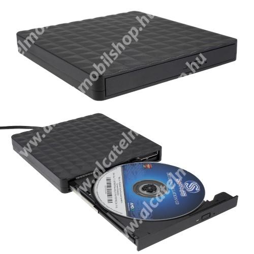 Hordozható külső DVD-RW optikai meghajtó - beépített USB3.0 kábellel, rombusz mintás, ultravékony, gyorsítótár sebessége: 2MB, ultravékony, 145 x 140 x 18 mm - FEKETE