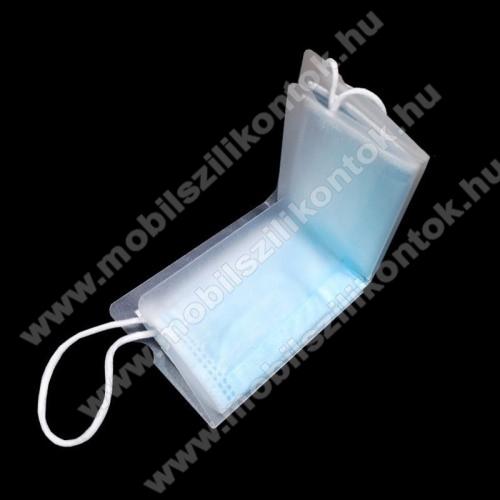 Hordozható összecsukható műanyag védő tok védőmaszkokhoz - 1db, por és szennyeződésgátló, 50 x 30 x 10 mm