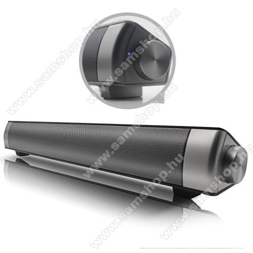 HORDOZHATÓ SZTEREO BLUETOOTH HANGSZÓRÓ / SOUNDBAR - 2 x 5W, 3,5 Jack csatlakozó is, microSD kártyafoglalat, mp3 lejátszás, újratölthető belső akkumulátor - FEKETE