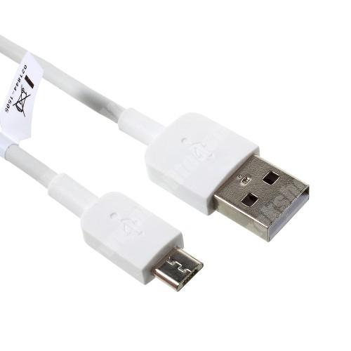 SAMSUNG GT-B7610 OmniaPRO HUAWEI 2A adatátvitel adatkábel / USB töltő - USB / microUSB, 1m - FEHÉR - GYÁRI