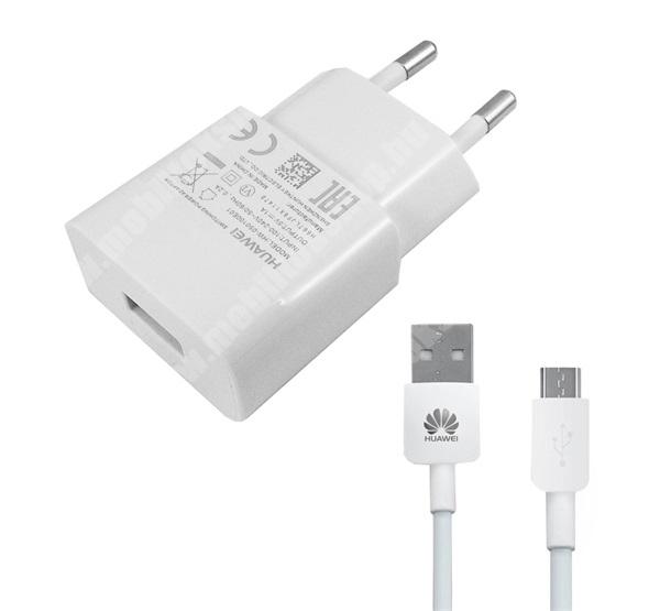 ALCATEL A30 HUAWEI hálózati töltő - 5V/1A, 1x USB aljzat, + microUSB adatátviteli / töltő kábellel - FEHÉR - HW-050100E01 - GYÁRI - Csomagolás nélküli