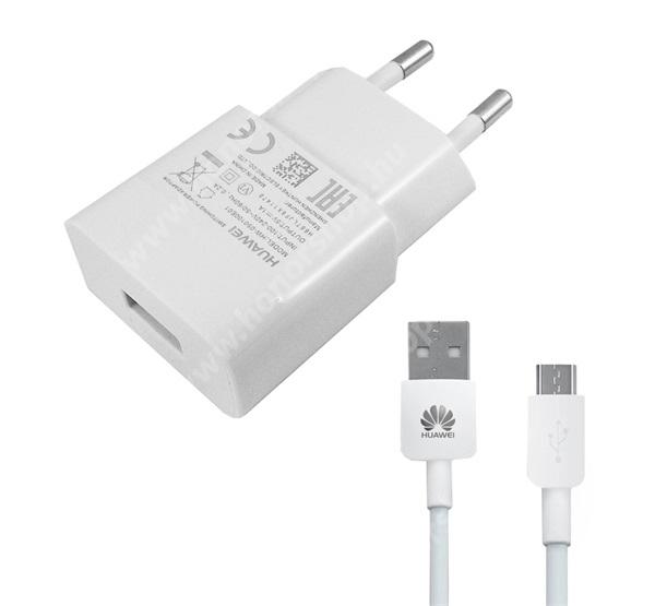 HUAWEI Honor 7X HUAWEI hálózati töltő - 5V/1A, 1x USB aljzat, + microUSB adatátviteli / töltő kábellel - FEHÉR - HW-050100E01 - GYÁRI - Csomagolás nélküli