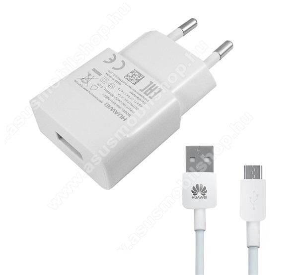 HUAWEI hálózati töltő - 5V/1A, 1x USB aljzat, + microUSB adatátviteli / töltő kábellel - FEHÉR - HW-050100E01 - GYÁRI - Csomagolás nélküli