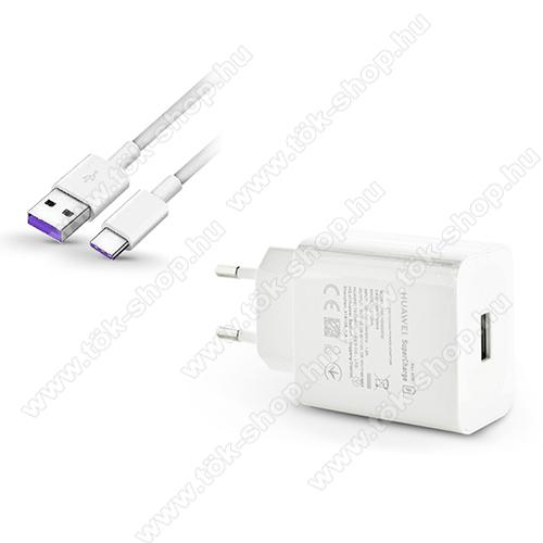 HUAWEI hálózati töltő USB aljzattal - 5V/2A; 9V/5A + 1m hosszú Type-C adatátviteli / töltő kábellel, HUAWEI SuperCharge gyorstöltés támogatás, 5A töltőáram átvitelére képes! - FEHÉR - HW-100400E00 + AP71 - GYÁRI - Csomagolás nélküli