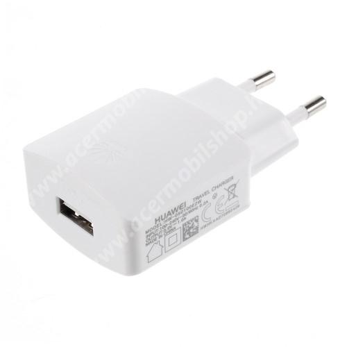 MOTOROLA One Power (P30 Note) HUAWEI hálózati töltő - USB aljzattal, 5V/1000mAh - FEHÉR - HW-050100E2W - GYÁRI - Csomagolás nélküli