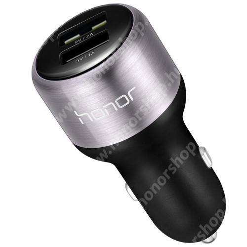 HUAWEI Honor 30 Pro Plus HUAWEI Honor AP31 szivargyújtós töltő, autós töltő - 2db USB aljzat, 1 x 9/5V 2A, Quick Charge (18W Max), 1 x 5V/1A(5W Max), ABS + alumíniumötvözet + 1m Type-C kábellel (FEHÉR) - FEKETE - GYÁRI