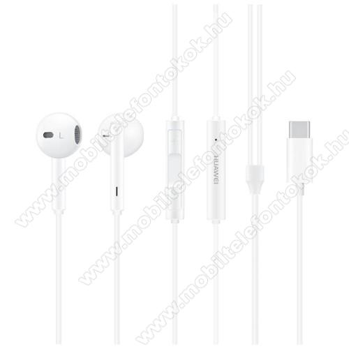 HUAWEI Honor CM33 Hi-Fi sztereo headset - Type-C, mikrofon, felvevő és hangerő szabályzó gomb - FEHÉR - GYÁRI
