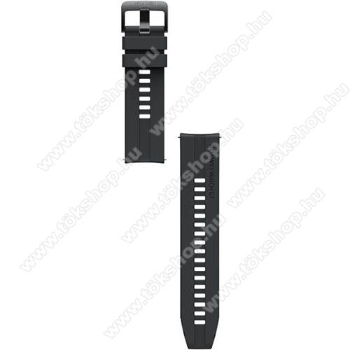 HUAWEI okosóra szíj - szilikon - FEKETE - 20mm széles - SAMSUNG Galaxy Watch 42mm / Amazfit GTS / Galaxy Watch3 41mm / HUAWEI Watch GT 2 42mm / Galaxy Watch Active / Active 2 - 55031977 - GYÁRI