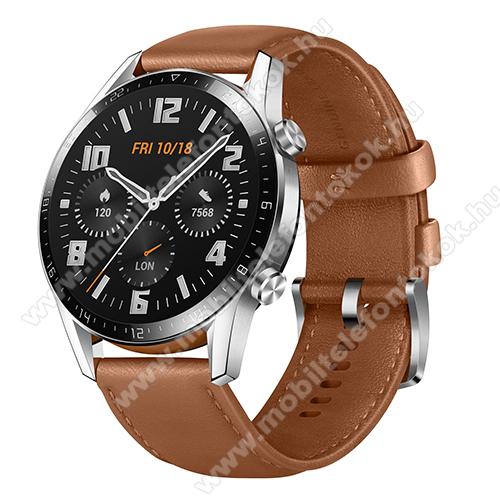 HUAWEI Watch GT 2 okosóra - 46mm, beépített GPS, 3D edzett üveg, aktívitás figyelő, valódi bőr szíjjal - BARNA - 55024470 - GYÁRI