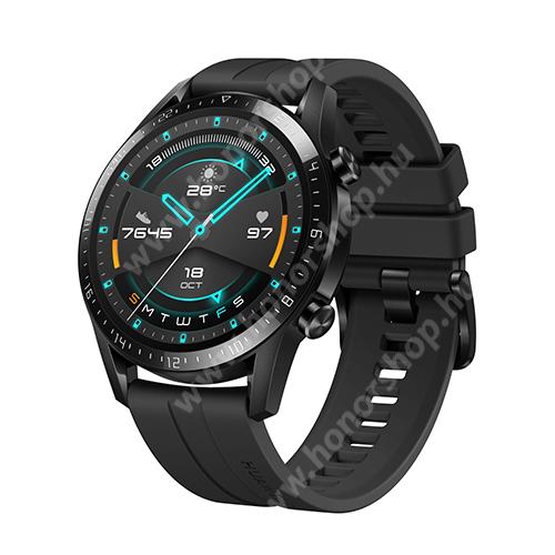 HUAWEI Honor 9C HUAWEI Watch GT 2 okosóra - 46mm, beépített GPS, 3D edzett üveg, aktívitás figyelő, szilikon szíjjal - FEKETE - 55024474 - GYÁRI