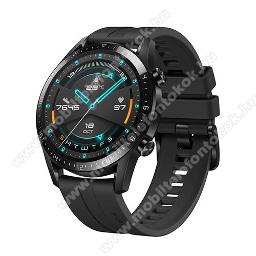 HUAWEI Watch GT 2 okosóra - 46mm, beépített GPS, 3D edzett üveg, aktívitás figyelő, szilikon szíjjal - FEKETE - 55024474 - GYÁRI