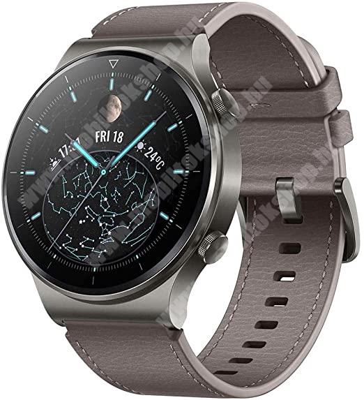 Blackphone HUAWEI Watch GT 2 PRO okosóra (46mm, GPS, 3D edzett üveg, aktívitás figyelő, valódi bőr szíjjal) SZÜRKE- 55025792 - GYÁRI