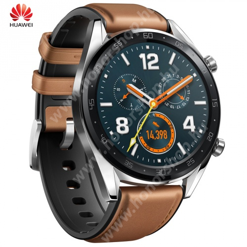 HUAWEI Honor Waterplay 8 HUAWEI Watch GT FORTUNA okosóra - bőr szíjjal - EZÜST - FTN-B19 - GYÁRI