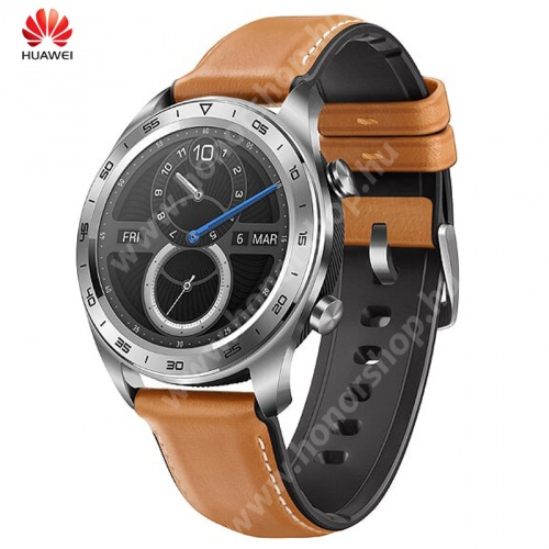 HUAWEI Honor 6C Pro HUAWEI Watch Magic okosóra - bőr szíj - EZÜST - GYÁRI