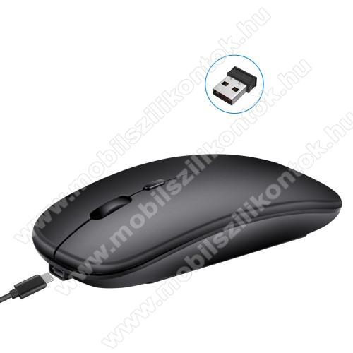 HXSJ M90 VEZETÉK NÉLKÜLI EGÉR / 2.4Ghz Wireless + Bluetooth csatlakozás - 800-1200-1600 dpi, 3 gombos, 2.4GHz, Bluetooth 3.0, beépített 500mAh akkumulátor, microUSB töltőaljzat, 11.3 x 5.8 x 2.6cm - FEKETE
