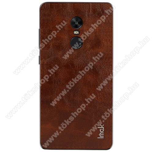 IMAK BelleArti hátlapvédő bőrbevonatú fólia, 0,6mm vékony - BARNA - Xiaomi Redmi Note 4X (Global version) - GYÁRI