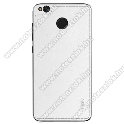 IMAK BelleArti hátlapvédő bőrbevonatú fólia, 0,6mm vékony - FEHÉR - Xiaomi Redmi 4X - GYÁRI