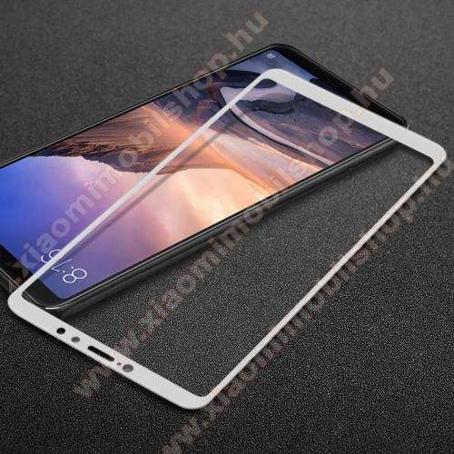 Xiaomi Mi Max 3IMAK előlap védő karcálló edzett üveg - FEHÉR - 9H - Xiaomi Mi Max 3 - A TELJES KIJELZŐT VÉDI! - GYÁRI