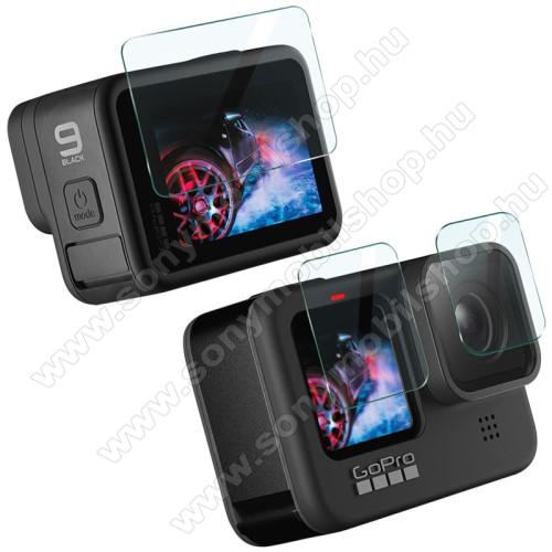 IMAK kameralencse / képernyővédő karcálló edzett üveg - 1 szett / 3db, 0,3 mm vékony, 9H, kijelzők és lencsevédő is! - GoPro Hero9-hez - GYÁRI