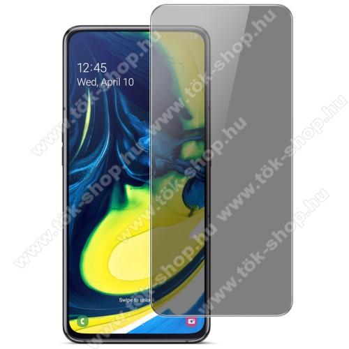 IMAK Privacy Anti-peep előlap védő karcálló edzett üveg - ÁTLÁTSZÓ - 9H, betekintés elleni védelemmel, a teljes felületén tapad! - A TELJES KIJELZŐT VÉDI! - SAMSUNG SM-A805F Galaxy A80 / SAMSUNG SM-A905F Galaxy A90 - GYÁRI