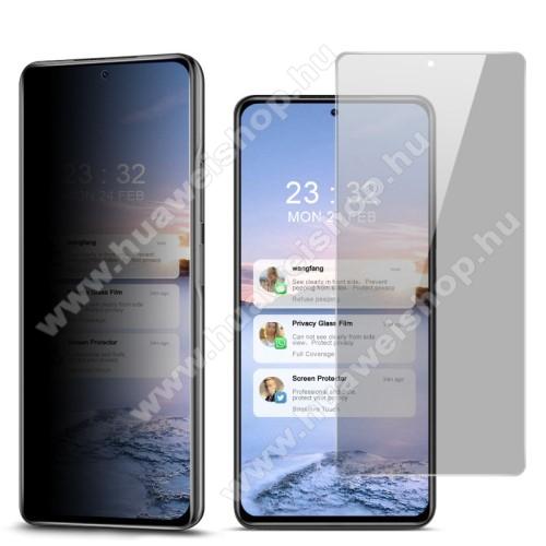 IMAK Privacy Anti-peep előlap védő karcálló edzett üveg - ÁTLÁTSZÓ - 9H, betekintés elleni védelemmel, a teljes felületén tapad! - A TELJES KIJELZŐT VÉDI! - Xiaomi Redmi K40 / Redmi K40 Pro / Redmi K40 Pro Plus / Mi 11i / Poco F3 - GYÁRI