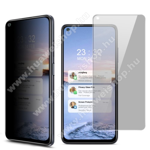 IMAK Privacy Anti-peep előlap védő karcálló edzett üveg - ÁTLÁTSZÓ - 9H, betekintés elleni védelemmel, a teljes felületén tapad! - A TELJES KIJELZŐT VÉDI! - Xiaomi Redmi Note 9T 5G / Redmi Note 9 5G - GYÁRI