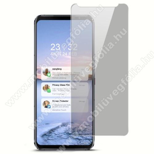 IMAK Privacy Anti-peep előlap védő karcálló edzett üveg - ÁTLÁTSZÓ - 9H, betekintés elleni védelemmel, A teljes felületén tapad! - A képernyő sík részét védi! - ASUS ROG Phone 5 / ROG Phone 5 Pro / ROG Phone 5 Ultimate - GYÁRI